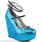 RUPAUL'S DRAG RACE BY IRON FIST WONDERLAND 3 STRAP WEDGE HEEL LIGHT BLUE SHOES