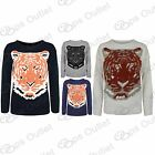 Ladies Long Sleeves Knitted Tiger Face Print Sweater Womens Pullover Jumper Top