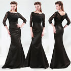 Vintage Long Lace Cocktail Formal Prom Bridesmaid Gown Party Prom Evening Dress
