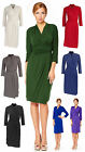 Womens Smart Wrap Knee Length Jersey Casual Business Dress with Sleeves 8 to 24
