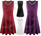 WOMENS LADIES SLEEVELESS GOLD NECKLACE SKATER FLARED PLEATED BODYCON DRESS
