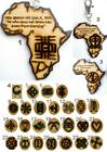 ETHNIC INSPIRED: MENS WOMENS GIFT AFRICA MAP ADINKRA SYMBOL WOOD PENDANT KEYRING