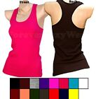 Women Teen Seamless Plain RacerBack Cami Workout Tee Tank Top Solid One Size S M