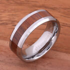 Koa Wood Tungsten Rings Wedding Ring Beveled Edge Mens Ring 8mm TUR377 image