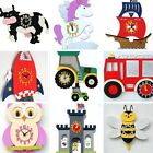 Personalised Childrens wooden wall clock, Princess, Owl, Bus, Pirate, Space
