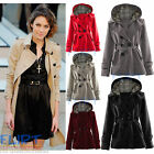 Womens Military Jacket Celeb Alexa Chung Belted Hooded Button Up Wool Warm Coat