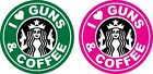 "Set of 2 - Starbucks - I ""Heart"" Guns & Coffee Military Decal Sticker - 2 colors"