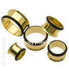 "1/2"", 9/16"", 5/8"", 3/4"", 7/8"", 1"" Gold Plated Surgical Steel Single Flared Plugs"