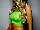 UV FLO LIME GREEN BOOB TUBE TOP CLUB NEON STRAPLESS BANDEAU PARTY VEST CROP B7
