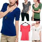 SEXY SCOOP NECK PUFF RUFFLE SLEEVE SLIM TOP TEE SHIRT MULTI-COLOUR T007