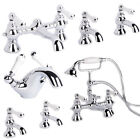 Traditional Chrome Bathroom Taps Set Lever Bath Filler Shower Mixer Basin Tap