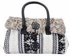 New Style Deer Snow Print Black Faux Rabbit Hair Tote Bag Shoulder Bag