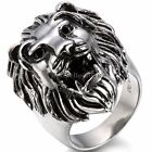 Retro Lion Head King Stainless Steel Men's Ring Band Black Silver Ring Size 7-14