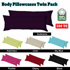 9 Color - Pair ( 2 ) of  100% Cotton & 300TC Body Pillowcases 45cm x 152cm