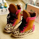 1822 Boutique Genuine Leather Pink Leopard Sneakers Boots Fleece Lining 28 29