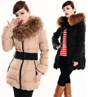 Women's Goose Down Jacket Long Coat Thicken Belted Fur Collar Winter Warm