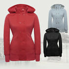 Red Grey Womens Casual Double-Breasted Button Hoodie Hooded Sweatshirt UKSMLXXL
