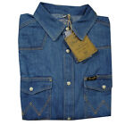 MENS WRANGLER TRADITIONAL CLASSIC WESTERN DENIM SHIRT - LIGHT STONEWASH BLUE