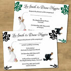 Personalised Day & Eve Funny Wedding Invitations Fishing Bride & Groom 12 Colour