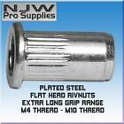 EXTRA LONG STEEL RIBBED RIVNUTS LARGE HEAD RIVNUT NUTSERT PLATED RIVET NUTS
