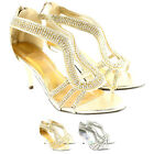 Womens Mid Heel Diamante Zip Fastening Ankle Strappy Sandal Heels UK Sizes 3-8