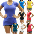 New Womens Basic Solid Slim Fit Cap Sleeve V-Neck Shirt Juniors Size S-XL RES022