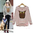 Women's Long Sleeve Stripe Batwing Hooters Print T-Shirt Bottoming Blouse Tops