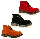 WOMENS LADIES BLACK RED TAN SUEDE ANKLE FLAT CHUKKA BOOTS ALL UK SIZES AVAILABLE