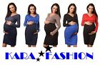 Materninty Sexy Long Sleeve Dress V-neck Stretchy Pregnancy Tunic size10-18 8447