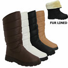 Womens Ladies Puffer Pull On Winter Snow Shoe Fur Lined Mid Calf Boots Grip Sole
