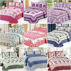 Cotton Floral Patchwork Quilted Bedspreads Set Coverlet King Size Bed Throw New