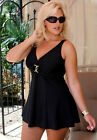 ♥Carol Wior♥One Piece Underwire Skirted Slimsuit♥Black Swimsuit Swimming Costume