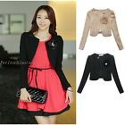 Elegant Women's Handmade Brooch Bow Decor Long Sleeve Shrug Cover Up Top UJ9703