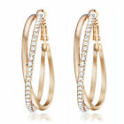 US Women Gold Filled Big Round Crystal Hoop Pierced Earrings AB032