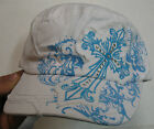 Women's Cadet Military Hat, Adjustable Size White and Blue