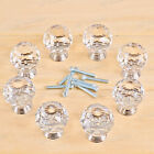 TopQuality Crystal Glass Door Knob Drawer Cabinet Furniture Kitchen Handle+Screw