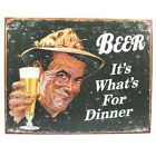 Beer Its Whats For Dinner Tin Sign Funny Home Bar Pub Metal Drinking Decor