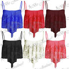 Ladies Lace Full Mesh Dip Handkerchief Womens Hanky Hem Strappy Crop Vest Top
