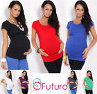Women's Maternity Top ♥ Short Sleeve Scoop Neck Tunic Pregnancy Sizes 8-18 5010