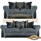 Amelia Sofas - 2 or 3 Seater - Grey Jumbo Cord and Black Faux Leather