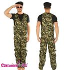 Adult Mens Khaki Camo Male Army Soldier Fancy Dress Costume Halloween Outfits