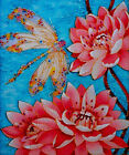 """Needlepoint canvas """" Dragonfly  and Lotus"""""""
