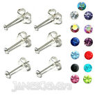 SMALL TINY CUTE PAIR CRYSTAL CZ 925 STERLING SILVER STUDS Size 1.5mm 2mm 2.5mm