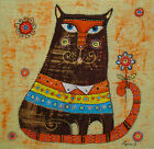 "Needlepoint canvas ""Cat and flower"""