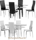 Berkley Dining Table In Black OR White + 4 Faux Leather Chairs