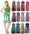 Short Knee Length Flower Pattern Print Bead Halterneck Casual Day Dress UK 8-16