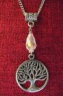 Tree of Life Celtic Pagan Crystal Silver Pewter Stainless Steel Chain Necklace