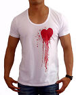 NEW MENS DEEP SCOOP NECK T SHIRT BLOOD HEART S - 2XL FASHION CASUAL SLIM FIT GYM