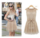 Celeb Style Sleeveless Chiffon Lace Top Ballet Skater Mini Dress