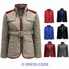 NEW LADIES QUILTED BELTED WOMENS PADDED GOLD ZIP JACKET COAT TOP SIZE 8 10 12 14